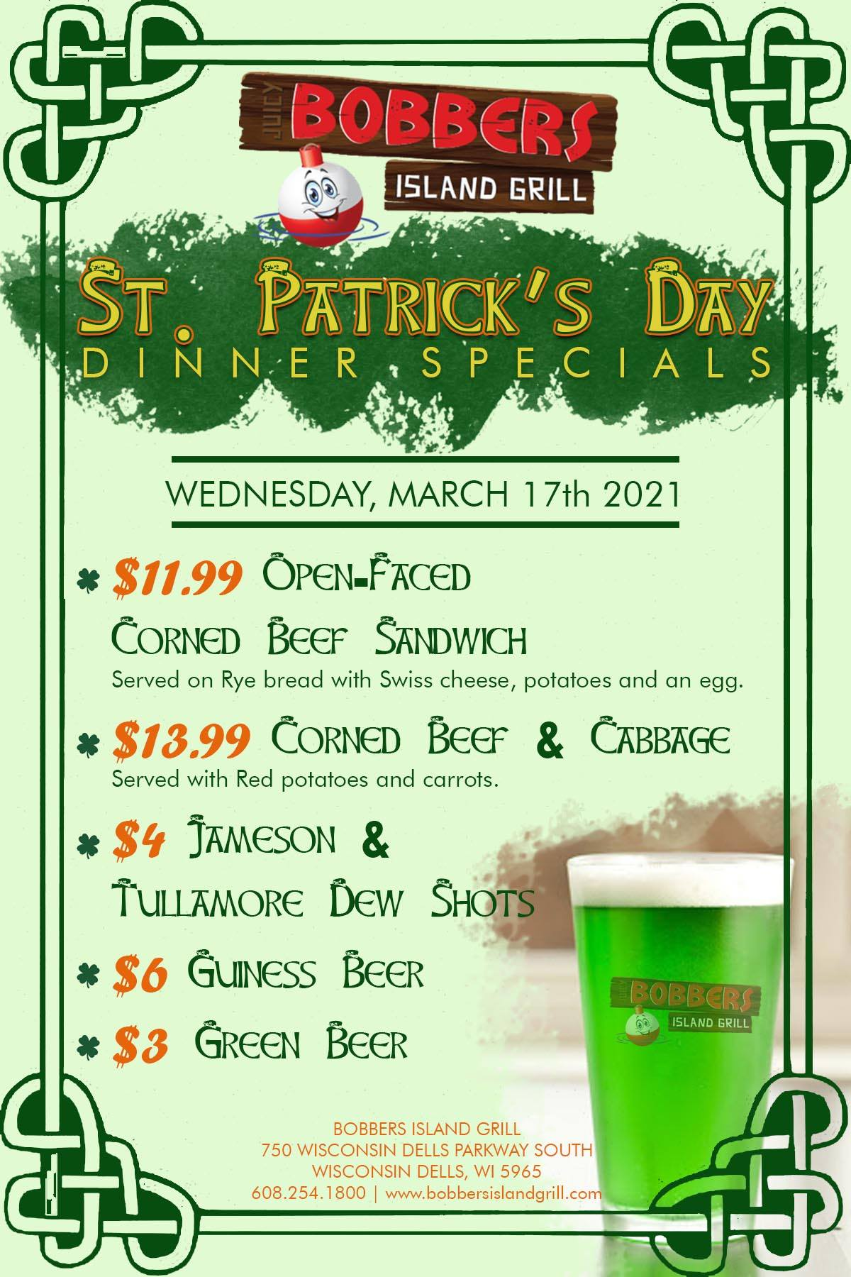 St Patrick's Day At Bobbers Island Grill In Wisconsin Dells